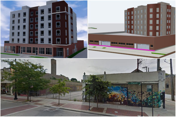 Two renderings for the development at 1531 W. Howard St., as well as what the property currently looks like.
