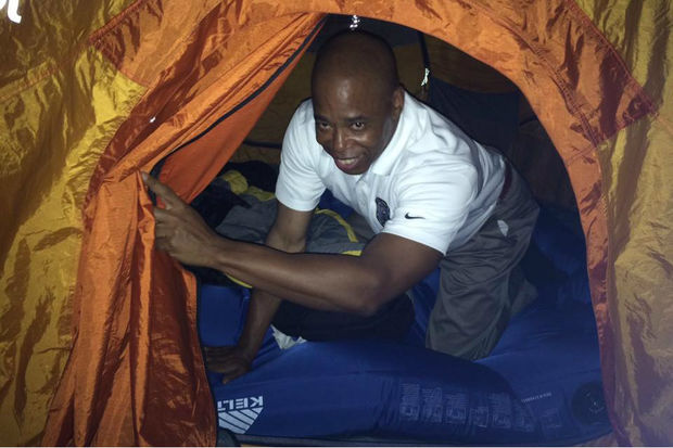 Borough President Eric Adams, captured climbing out of a tent at a sleep-in in the summer of 2016, pulled out $2 million he'd pledged he'd chip in to help buy the promised park, nearly botching the whole deal, according to Norman Brodsky, the former property owner.