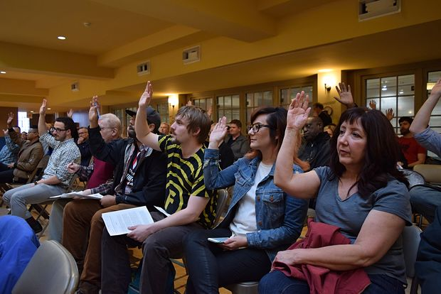 Nearly every resident in attendance raised hands in support of legalizing recreational marijuana for adult use.