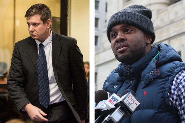 Jason Van Dyke (left) is charged with first-degree murder, official misconduct and aggravated battery. Activist William Colloway (right) hopes public pressure will speed up the trial process.