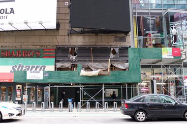 The construction site at 1604 Broadway, between West 48th and 49th streets, where Jose Cruz was killed on April 12.