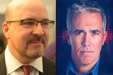 Thirty-ninth Ward Democratic Committeeman Robert Murphy (l) and conservative talk radio host Joe Walsh