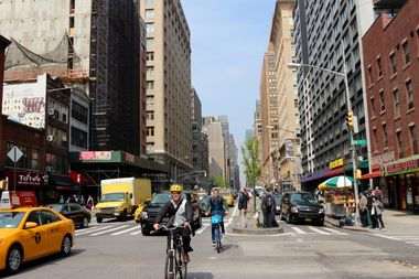 The intersection of West 23rd Street and Seventh Avenue.