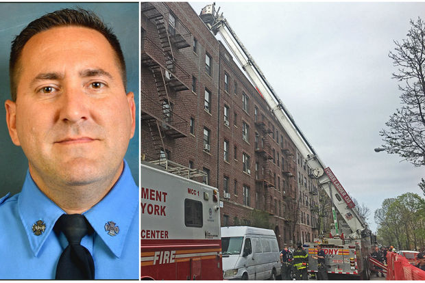 Firefighter William Tolley, 42, died Thursday after he fell 5 stories from a ladder while fighting a two-alarm fire in Ridgewood Queens.