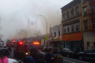 Firefighters battled a blaze Thursday afternoon on Manhattan Avenue in East Williamsburg.