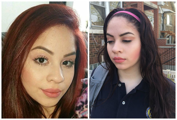 Freshman Daisy Chavero was suspended from school at Chicago Bulls College Prep after dying her hair (left) and administrators wouldn't let her return to classes after dying her hair a second time (right).