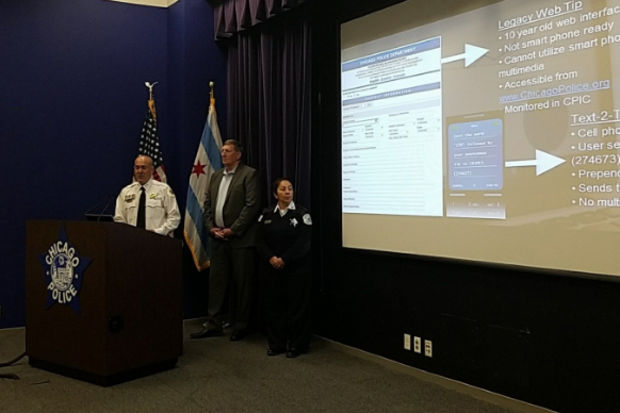 Jonathan Lewin, deputy chief of the Bureau of Support Services, helped unveil a new, anonymous tip line. ChicagoTip.com can be used by people on phones, tablets, computers or other devices to send tips to police.