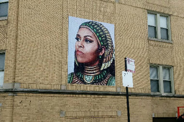 A new Michelle Obama mural shows her as an Egyptian queen.