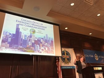 Office of Emergency Management and Communications Executive Director Alicia Tate-Nadeau speaks at the City Club of Chicago.