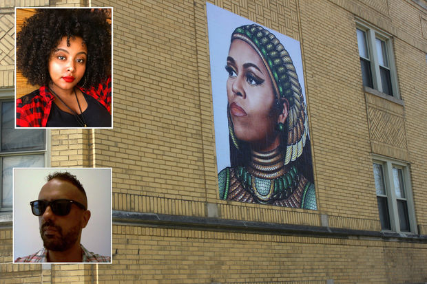 Gelila Mesfin (top inset) created an image of Michelle Obama that Chris Devins (bottom inset) used to create this mural on a South Side building.
