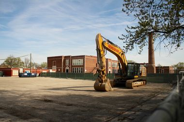 Construction has begun on an eight-classroom module in the parking lot of Bridge Elementary School, 3800 N. New England Ave.