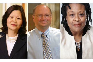 The commencement speaker lineup for Saint Xavier University (from left) includes Carolyn Y. Woo of Purdue University, R. Scott Appleby of the University of Notre Dame and Maudlyne Ihejirika of the Chicago Sun-Times.