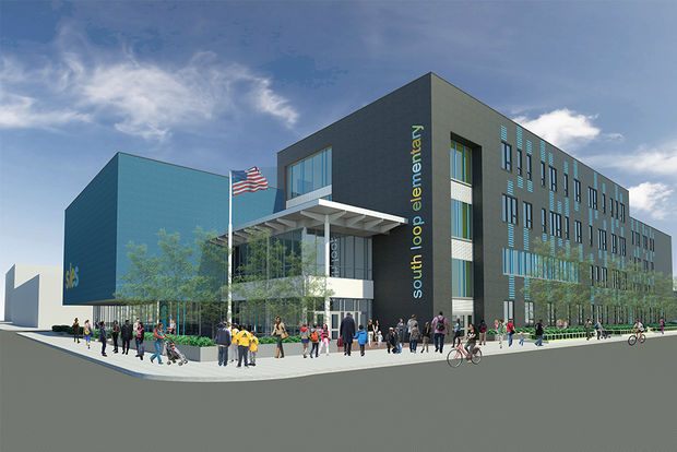 A rendering of the new South Loop Elementary School under construction at 1601 S. Dearborn St. The school is expected to open in 2019.