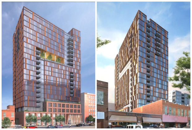 Renderings show what a proposed 20-story tower at 166 N. Aberdeen St. could look like.