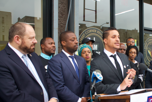 Akeem Browder (center), the older brother of Kalief Browder, backed an alternative plan to close Rikers Island in three years.