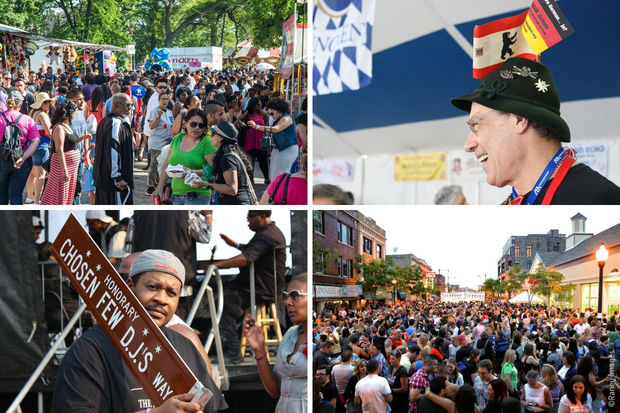 Clockwise from top left: Fiestas Puertorriqueñas in Humboldt Park, Maifest in Lincoln Square, Midsommarfest in Andersonville and Chosen Few DJs' Picnic in Jackson Park.