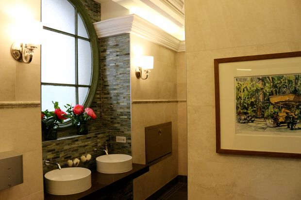 "The new restrooms have ""plein air"" paintings, new floor and wall tiles and temperature controls."