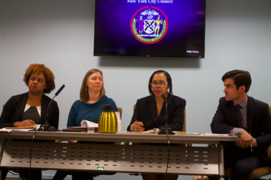 Anne-Marie Hendrickson, (second from right) deputy commissioner of HPD, and other HPD officials testified at an oversight hearing on the TIL program.