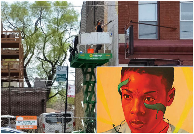 Chicago artist Max Sansing works on his mural depicting Poussey Washington, a character in the show