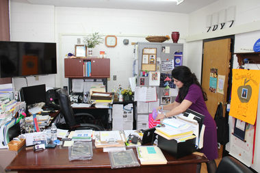 Principal Phyllis Cavallone-Jurek in her office at St. Therese Chinese Catholic School