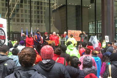 CTU president Karen Lewis spoke before thousands for a May Day rally.