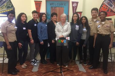 The Chancellor Carmen Farina visited the George Washington Educational Campus to announce the launch of four additional student support centers (SSC)