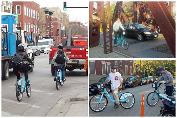 Divvy cyclists peddle around the city.