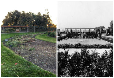 Jens Jensen Formal Garden, completed in 1908, will soon see new life. Pictured is the garden in 1908 (left) and the garden today (right).