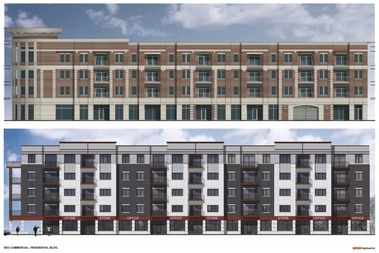 The current rendering for 2819 W. Belmont Ave. [top] compared to the design developers first pitched in May 2016.