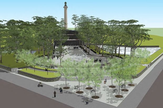 The city has allocated $5 million to rebuild the north side of Fort Greene Park, including a revamped entrance on the northwest corner. This preliminary design of the entrance shows the rebuilt plaza and new landscaping.