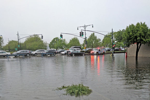 Part of the West Side Highway was flooded after torrential rain hit the city Friday, May 5, 2017.