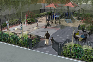 A rendering shows a draft of the Parks Department plan to renovate Weeksville Playground in Bed-Stuy.