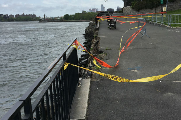 A stretch of the East River Esplanade fell into the river over the weekend thanks to heavy rains on Friday.