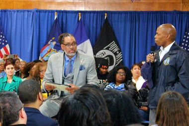 Brooklyn Borough President Eric Adams (right) speaks about homeless shelters at a Bedford-Stuyvesant town hall meeting in March. Adams criticized the mayor's Department of Homeless Services plan, but is now helping to hire a new city worker to facilitate a better relationship between residents of Central Brooklyn and homeless shelters.