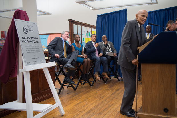 Harry Belafonte, 90, speaks at the dedication event Monday, May 8, 2017.
