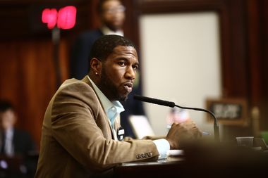 Jumaane Williams speaks at a City Council hearing on March 31.