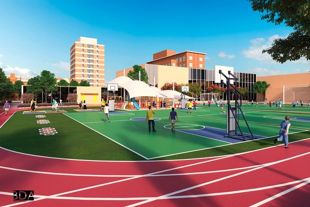 Renderings of a proposed play and ball field behind Pritzker School.