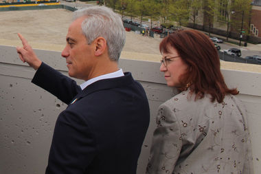 Mayor Rahm Emanuel and Ald. Michele Smith, seen at last week's Lincoln Common groundbreaking, figure to be on opposite sides of the issue on the North Branch Industrial Corridor Modernization Plan.