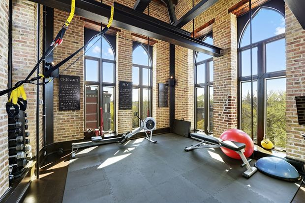 The Fourth Floor Of The Condo Inside A Renovated 1896 Church Opens To The  Bell Tower, Which Has Been Turned Into A Personal Gym.