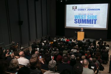 Councilman Corey Johnson announced the winners of this year's participatory budgeting vote at a West Side Summit on Tuesday.