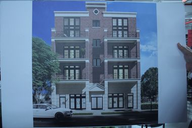 One of four mixed-use buildings that would be built in the 6300 block of North Pulaski Avenue, under a plan presented Wednesday