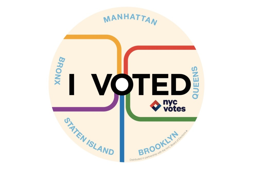 N y won out over nine other finalists in the i voted sticker contest run by the nyc campaign finance board the group announced thursday