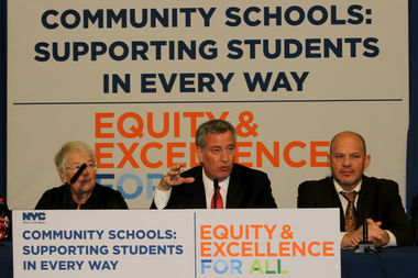 Bill de Blasio speaks at a press conference about the city's community schools initiative on Thursday afternoon at P.S. 155 Nicholas Herkimer in Bed-Stuy.