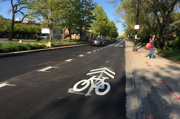 New bike lanes are being installed on Harrison Street in Little Italy.
