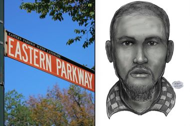 Police released a sketch, right, of a man wanted for beating a man on Eastern Parkway after making homophobic and racist comments to him.