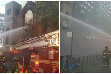 Firefighters battle a fire in an unoccupied synagogue on the Lower East Side on Sunday.