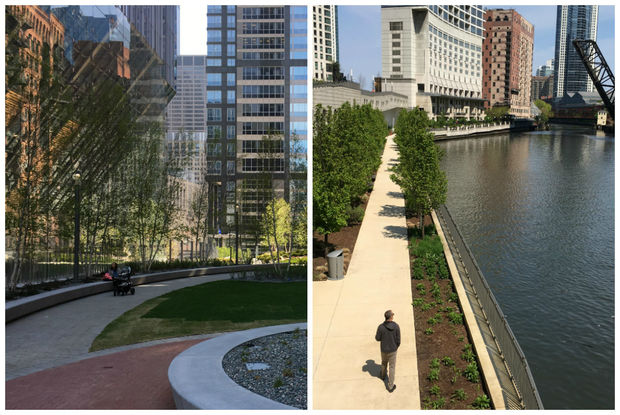 The opening of River Point Tower and 150 N. Riverside Plaza have created two new parks on the Chicago Riverfront Downtown.