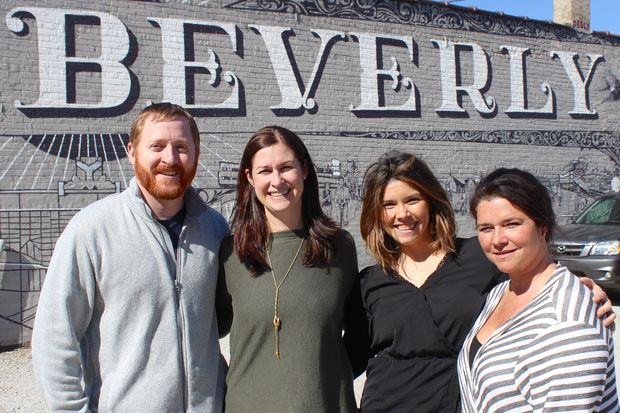 Kevin and Karen O'Malley (left) will open B-Sides Coffee + Tea in August at 9907 S. Walden Parkway in Beverly. Megan Barba (third from left) and Katie Schickel (right) own the nearby Tranquility Hair Salon and are also planning to find a like-minded user for the storefront at 9911 S. Walden Parkway.