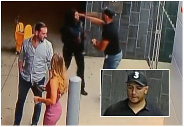 A man punched a River North security guard who was trying to help him in an incident caught on video.