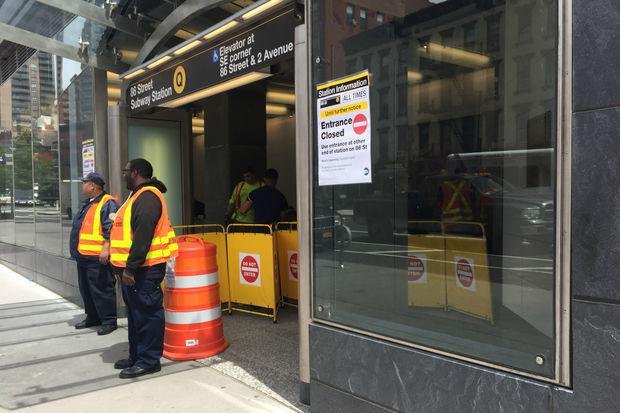 The Second Avenue Subway's entrance at East 83rd Street will be closed for escalator repairs. The MTA has staff stationed around to direct commuters to the 86th Street entrance and exit.